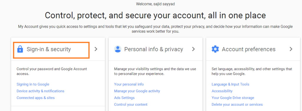 Sign In Security Gmail